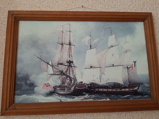 Репродукция морская тема, 35 см х 53 см, битва корвета, Жан Хью
