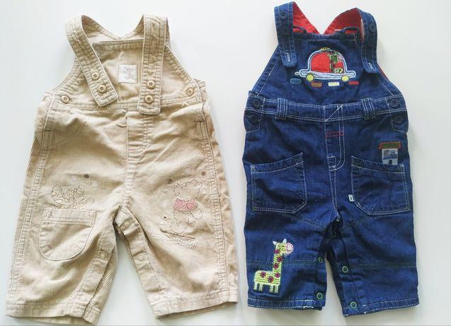 Spodnie ogrodniczki dżinsowe sztruksowe spodnie dresowe 62 68 zestaw