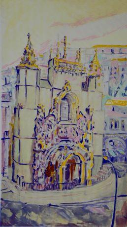 "serigrafia do artista Mario Silva ""Igreja De Santa Cruz - Coimbra"""