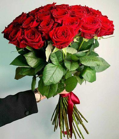 Букет 29 роз, красные, белые розы. Цветы Днепр, подарок. Доставка