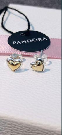 Pandora kolczyki sztyfty z wypukłymi sercami tt srebro złoto