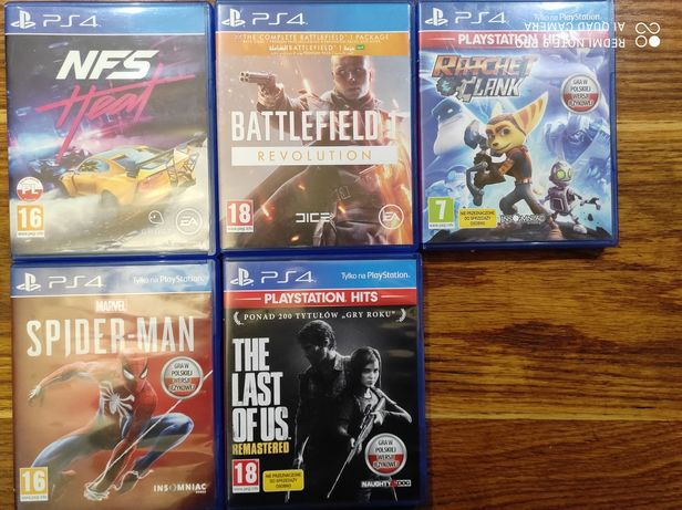 Ratchet & clank, The last of us, Battlefilld, Spider-men, NFS
