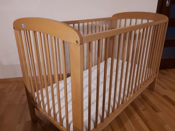 OKAZJA! Łóżeczko drewniane bukowe 120x60 cm + Materac pianka-lateks