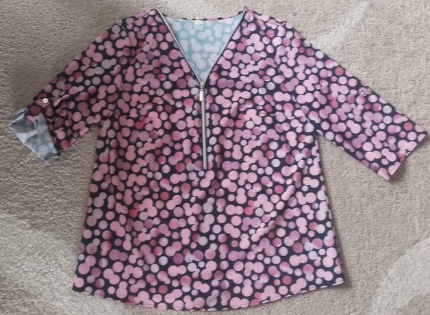 Czarna bluzka w różowe groszki