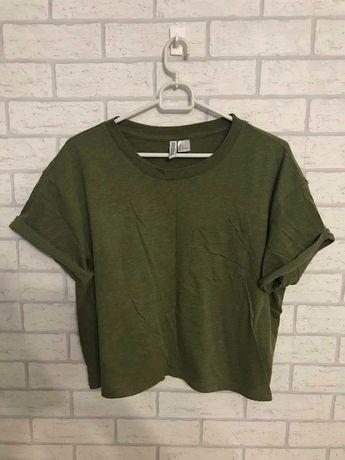 Koszulka crop top khaki z kieszonką H&M