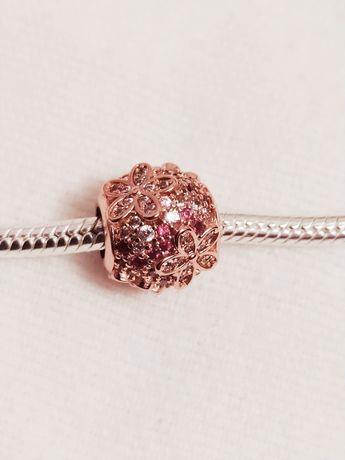 Nowy srebrny charms koralik w kolorze różowego złota z cyrkoniami