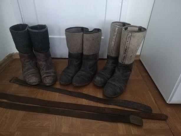 Stare buty zimowe skóro-filce PRL