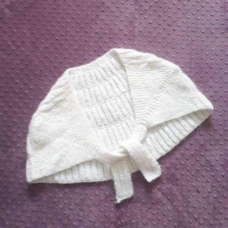 Biała peleryna vintage narzutka swetrowa wiązana oversize S M L ślub