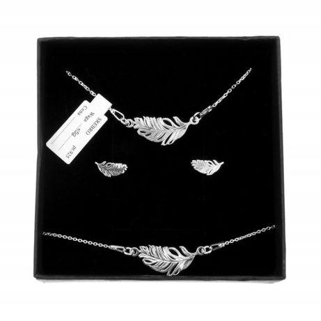 Komplet biżuterii srebrnej piórko piórka boho