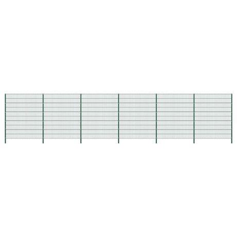 vidaXL Painel de vedação com postes ferro 10,2x2 m verde 278684