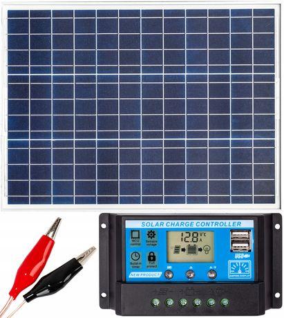 Panele fotowoltaiczne bateria słoneczna 50W 12V regulator (ZES206)