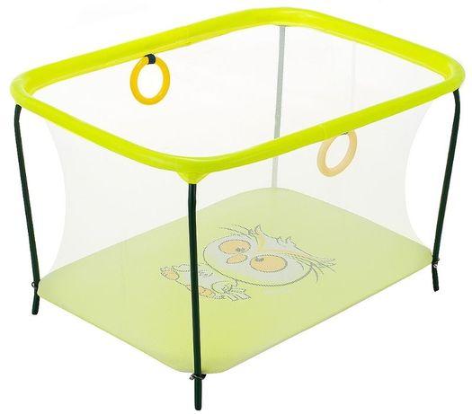 Манеж детский игровой KinderBox люкс Желтый сова