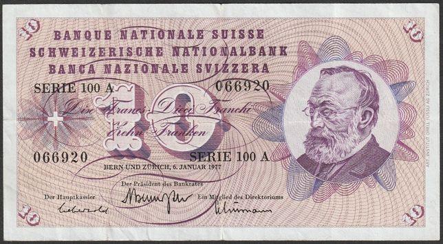 banknot Szwajcaria 10 franków 1977 , 100A