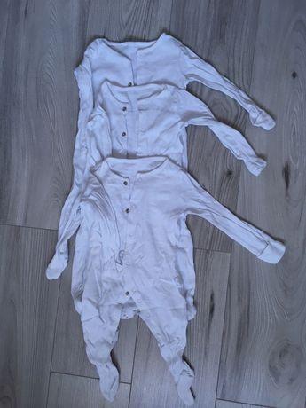 Pajacyki pidżamki 3pak F&F 68 białe gładkie