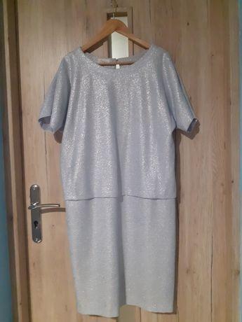 Sprzedam srebrną sukienkę r 42 gratis zielony żakiet r 42