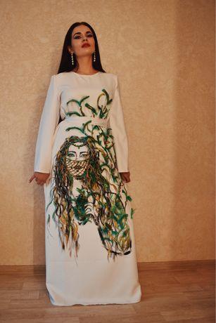 Ручная робота, дизайнерское платье в пол в восточном стиле