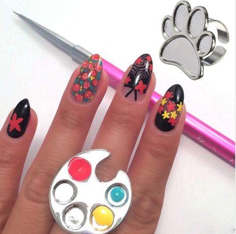 Płytka metalowy pierścionek do łatwiejszej aplikacji żeli farbek