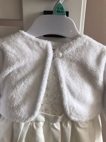 Bolerko białe dla dziewczynki chrzest roczek sesja zdjęciowa