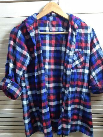 koszula w kratkę czerwono niebieska vintage