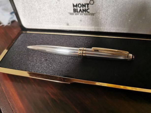 Esferográfica /caneta mont blanc meisterstuck  em prata