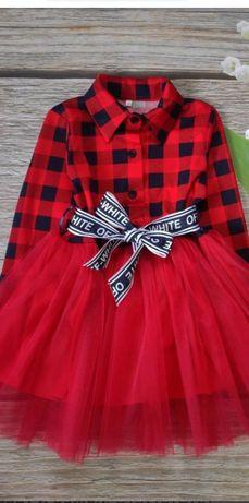 Красивое красное платье в клетку для девочки 116р..