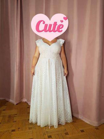 Piękna suknia ślubna! Marta Trojanowska - boho koronki - rozmiar 40-44