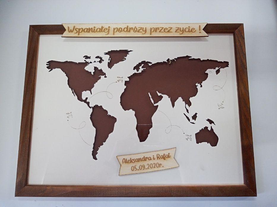 obraz mapa świata, prezent na ślub