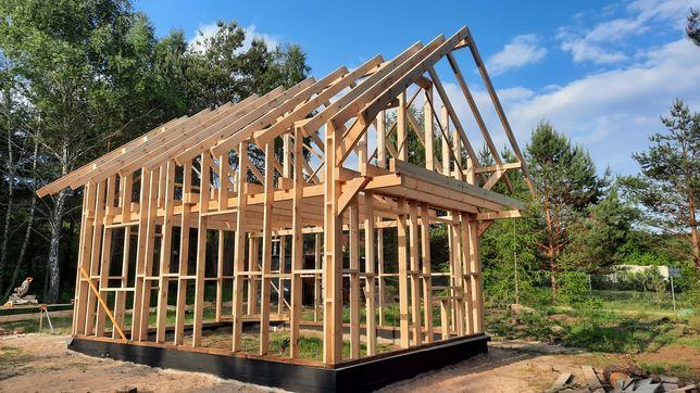 Konstrukcja drewniana szkielet domu domku 35 m2ze stropem 7 m na 5 m