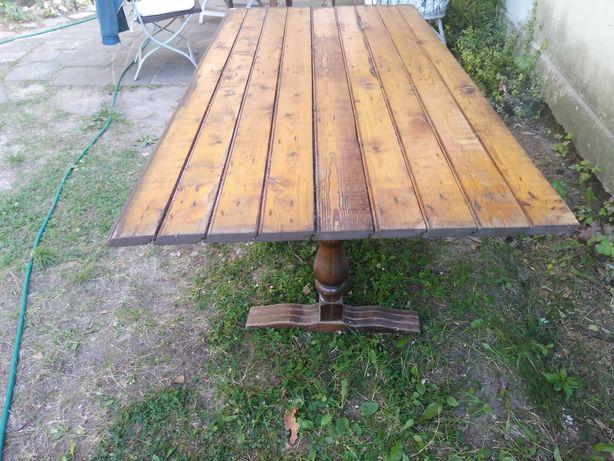Duży drewniany stół biesiady, działka, taras, regulowana wysokość