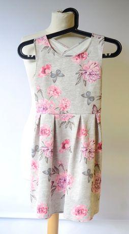 Sukienka Szara H&M Kwiaty 146 152 cm 10 12 lat Kwiatki Zara Reserved