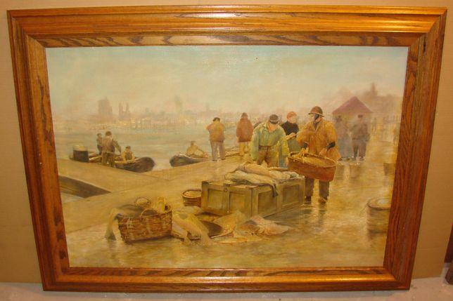 Stary OBRAZ OLEJNY - Targ Rybny 120 x 89,5 cm