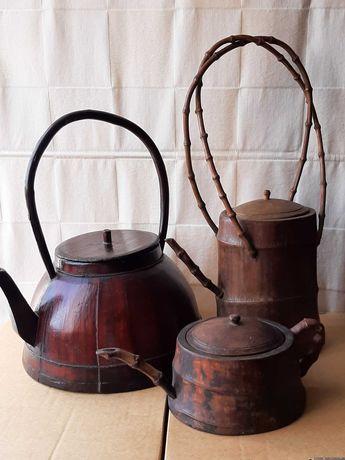Bule de madeira chinês antigo, conjunto de 3