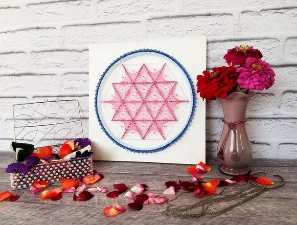Картина Стринг Арт, Декор для интерьера, Мандала, Розовая абстракция