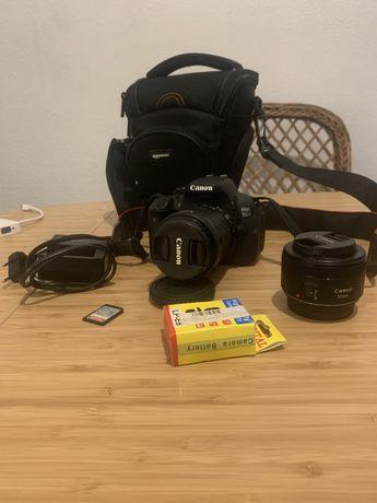 Canon 700D + lente 18-35mm + lente 50mm