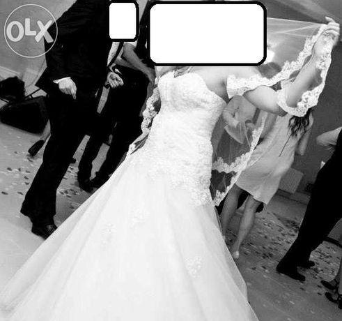 suknia ślubna biała rozm 38/40 + hiszpański welon i MUSZNIK GRATIS