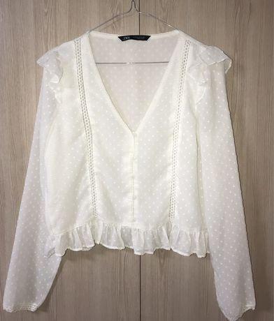Молочная укороченная блуза Zara