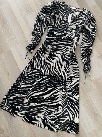 TOPSHOP sukienka midi zebra print