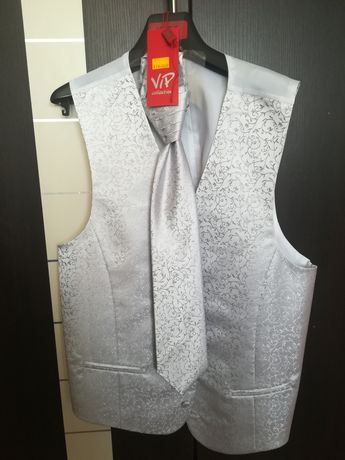 Kamizelka ślubna 54 krawat VIP xl
