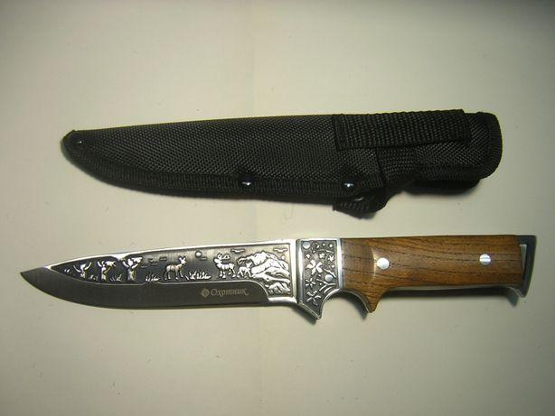 Kandar nóż myśliwski wojskowy grawerowany jelenie sarny drzewa