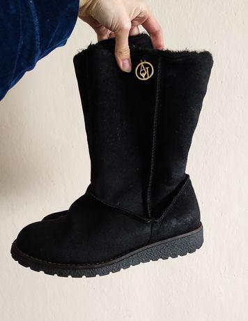 Czarne kozaki botki Armani Jeans 38