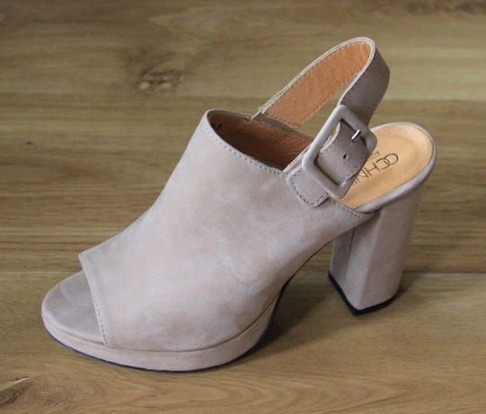 Skórzane skóra BYDLECA ochnik sandałki czółenka 39 beż sandaly bezowe