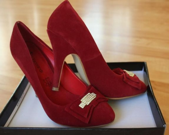 Buty szpilki czółenka czerwone rozmiar 37 jak NOWE