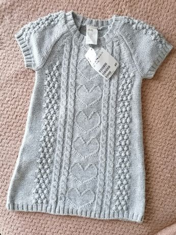 H&M nowa dzianinowa sukienka niemowlę rozmiar 74