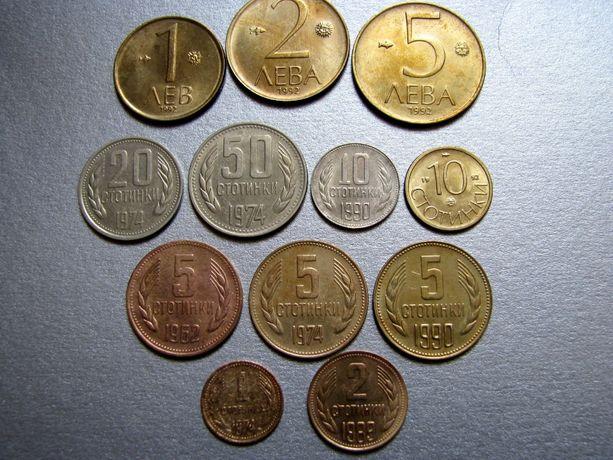 Болгарские монеты 1962-1992 гг, стотинки, левы, лот из 12 монет