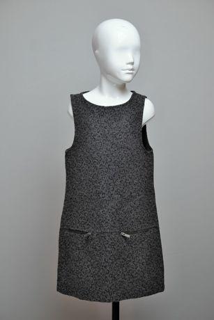 Zara Girls elegancka sukienka 128 cm 7 8 lat delikatna szara panterka