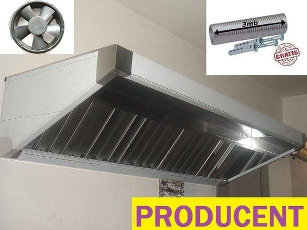 Okap gastronomiczny sg 2000x700x400 wentylator filtry ATEST KURIER