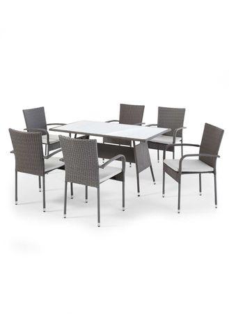 Zestaw mebli ogrodowych, Stół + 6 krzeseł, kolor siwy! Technorattan!