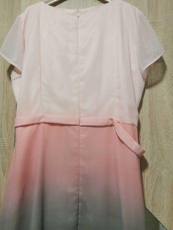 Sukienka różowo szara na imprezę. r. 48