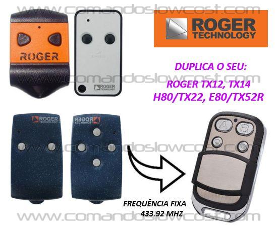 Comando de garagem compatível c/ Roger