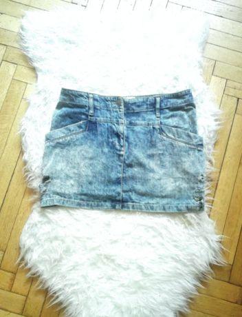 Bershka dżinsowa spódniczka spódnica marmurkowa z dziurami przetarcia